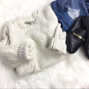 Sweaters - Oversized Cozy Knit Speckled Off White Sweater